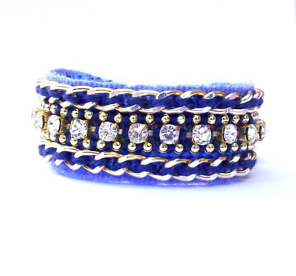 Friendship Bracelete Strass & Azul