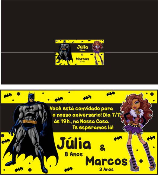 Convite Monster High e Batman