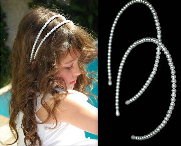 Kit c/ 02 tiaras *branco ou off white*