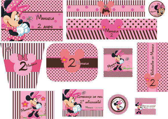 KIT DIGITAL - MINNIE MARROM E ROSA