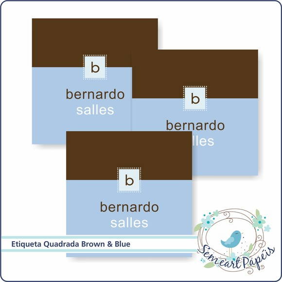 24 Etiquetas Personalizada Brown & Blue