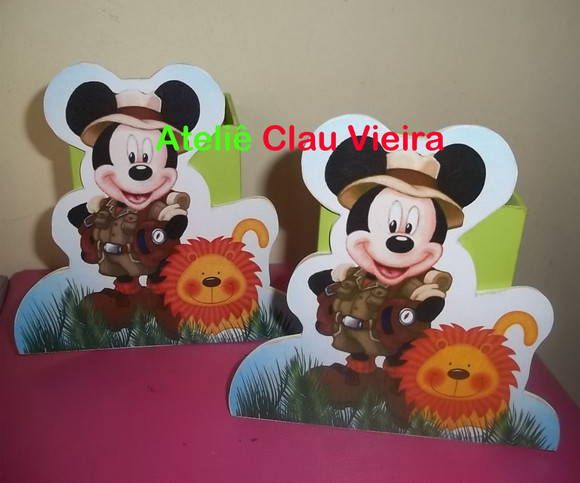 ENFEITE DE MESA MICKEY NO SAFARI