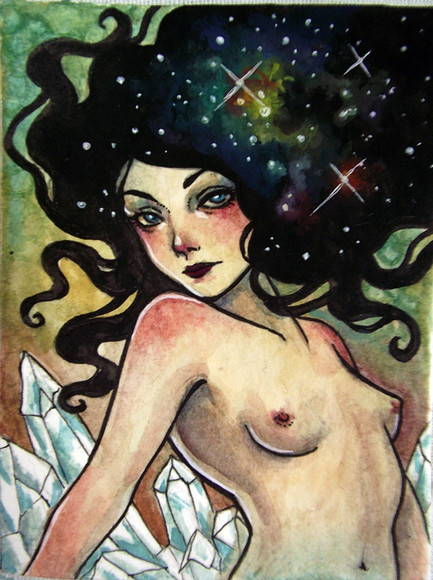 ACEO Original - Galaxies and crystals
