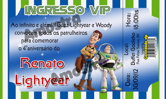 Convite Ingresso Buzz Lightyer e Woody