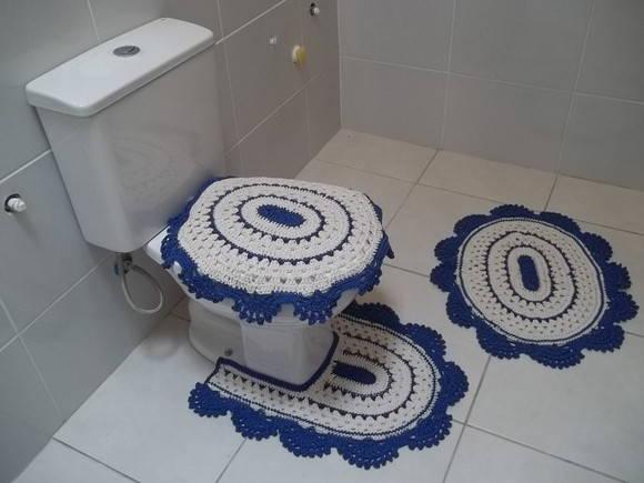 Jogo De Banheiro Azul Em Croche : Jogo de banheiro em croch? barbante no elo espa?o