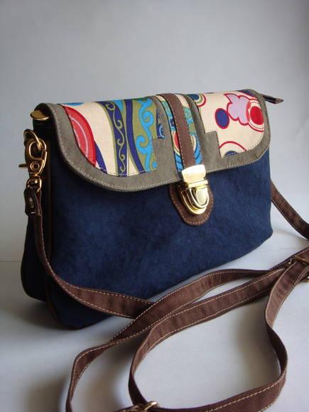Bolsa Em Tecido Artesanal Passo A Passo : Bolsa dupla color azul sonoe bag elo
