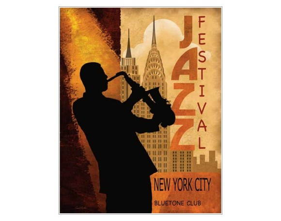 Placa MDF Retrô- Jazz Festival NY- 320