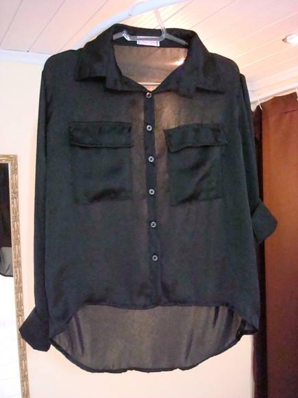 ef4664c0fc Camisa mullet feminina de crepe preta no Elo7