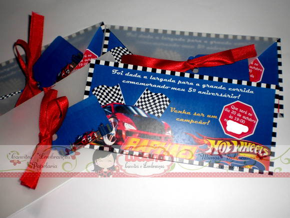 Convite Ingresso Hot Wheels C/ Vegetal