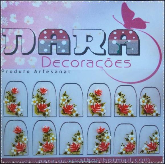 Artesanato Quilling ~ Adesivos de unhas Flores Nara Decorações Elo7