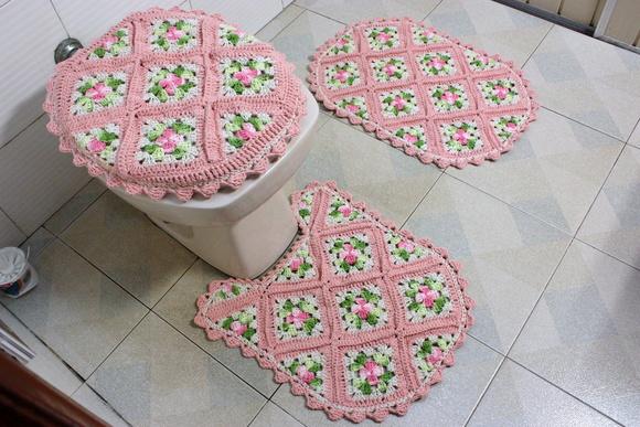 Jogo de banheiro salmão  Patricia crochetando  Elo7 -> Decoracao Banheiro Salmao