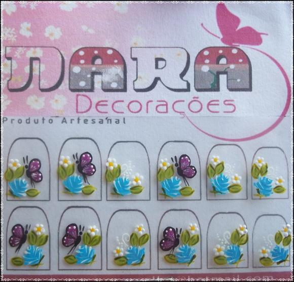 Artesanato Vila Do Conde ~ Adesivo de flores com borboletas Nara Decorações Elo7