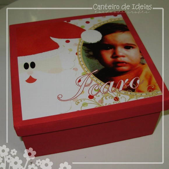 Caixa decorada com scrap digital - Natal
