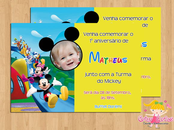Convite Turma Do Mickey Foto Mod1