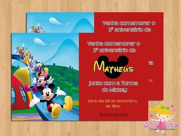 Convite Turma Do Mickey Mouse