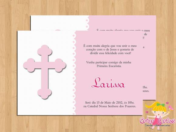 Convite Primeira Eucaristia Cruz Rosa