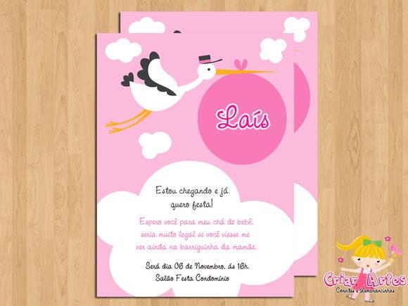 Convite Chá De Bebê Cegonha Rosa No Elo7 Criar Artes 2eed69