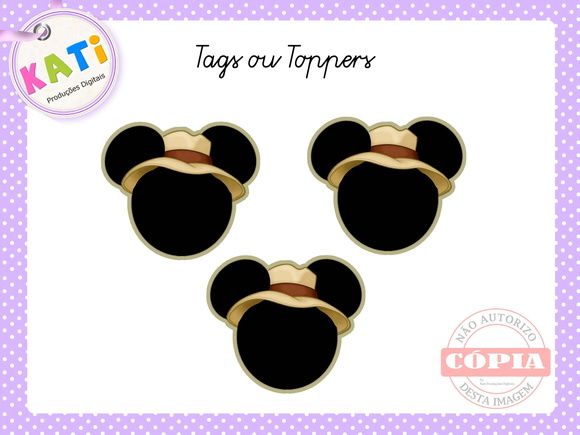 Toppers para Cupcake Mickey Safari