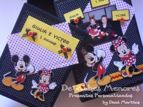 Álbum de Fotos e Caixa -Mickey e Minnie