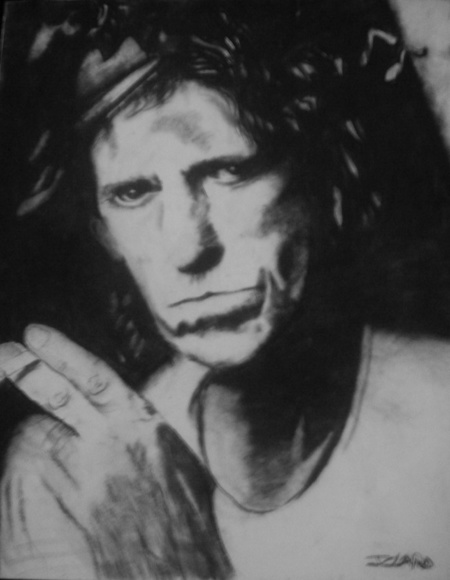 Keith Richards - Carvão sobre tela