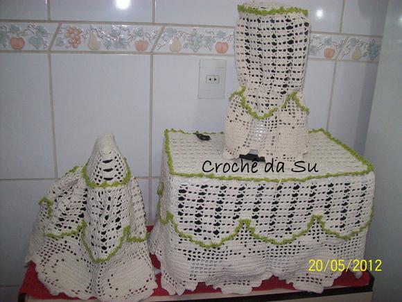 Adesivo Olhinhos Fechados ~ Jogo de cozinha em croch u00ea no Elo7 Croche da Su (32ABB6)