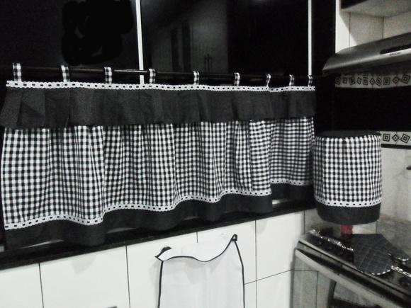 Decoraç u00e3o de Cozinha Gourmet preto e branco Croch u00ea Carioca Elo7 -> Decoração Xadrez Preto E Branco