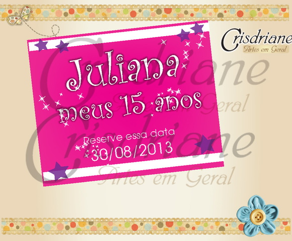Tag reserve a data 15 Anos Juliana