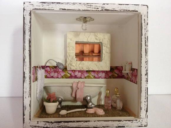 Quadro Banheiro (Pequeno) Resina  Arte Parma Artesanato  Elo7 -> Artesanato Banheiro Pequeno