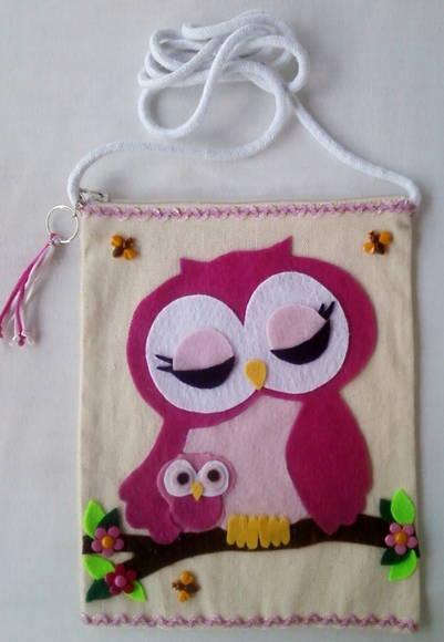 Bolsa De Tecido Decorada Com Coruja : Bolsa corujinha infantil pilar artes elo