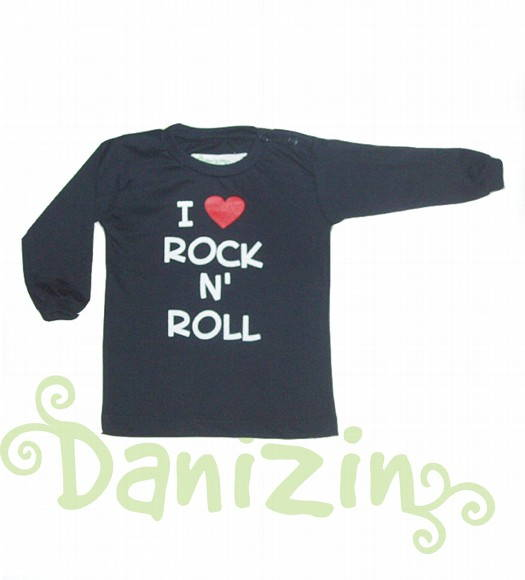 T-Shirt Bebê M.Comprida I ♥ ROCK N' ROLL
