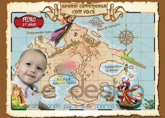 Convite Infantil - Mapa do Tesouro.