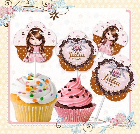Topper cupcake jolie no elo7 rotulando personalizados - Jolie cupcake ...