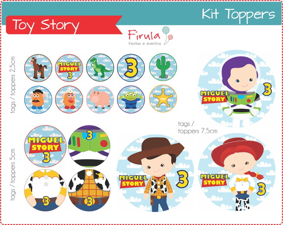 Kit Digital Toppers / Tags Toy Story
