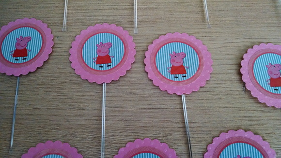 KIT Tags Ou Toppers Tema Peppa Pig