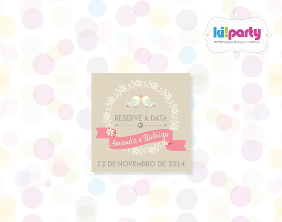 Save the Date 5x5cm Tema: Wedding Birds