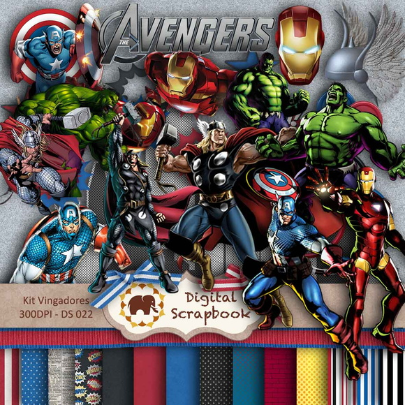 Kit Scrapbook Digital - Os Vingadores