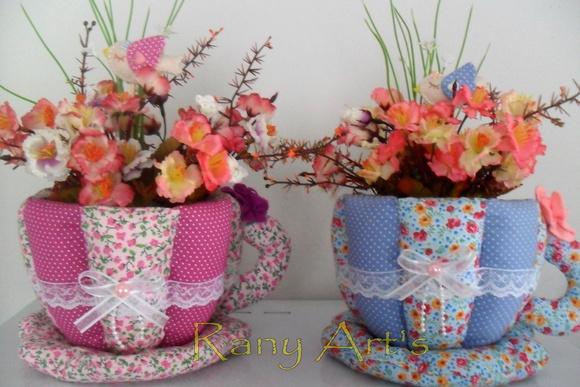Enfeite De Xicara ~ Xícara de tecido com flores Rany Art's Elo7