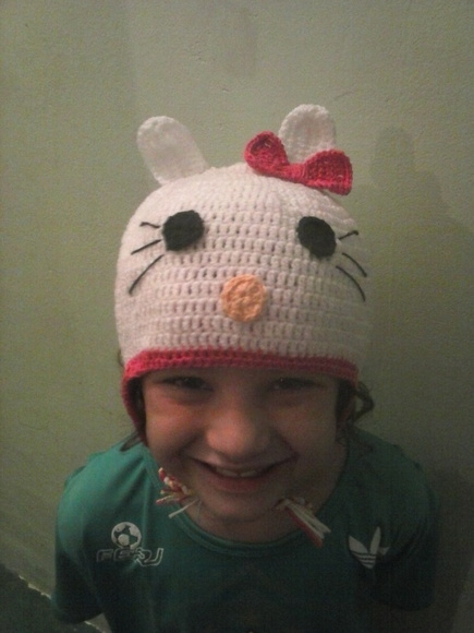 Touca de Croche Hello Kitty