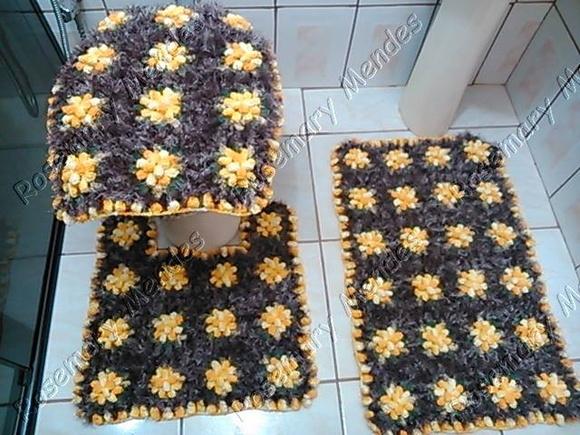 Jogo De Banheiro Marrom E Amarelo : Jogo de banheiro pipoquinha decore vilna artes croch? elo