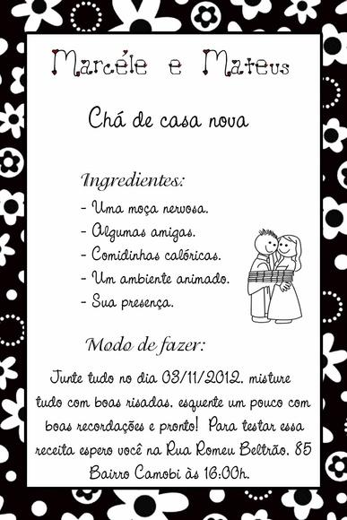 Mini Convite Cha Bar Panela Casa Nova Elo7