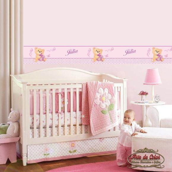Adesivo Faixa Border Quarto do Bebê Arte de Colar  ~ Adesivos De Parede Para Quarto De Bebe Feminino
