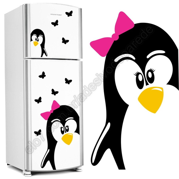 Aparador Baixo Mdf ~ Adesivo geladeira Pinguim+filhote+borbol 5 ANOS DE GARANTIA Elo7