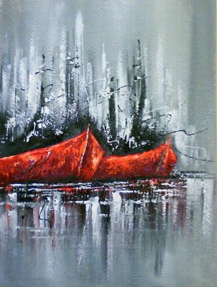 Painel 30x40 Barcos Abstrato COD 126