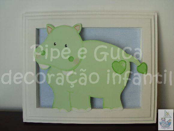 (DO 0004) Quadro decorativo hipopótamo