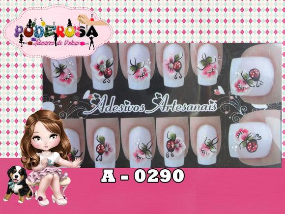 Armario Indoor Barato ~ Flor e Joaninha no Elo7 Poderosa Adesivos de Unhas (49A1A5)