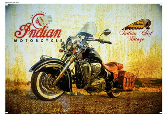 Placa Vintage Retrô - Indian Motorcycle