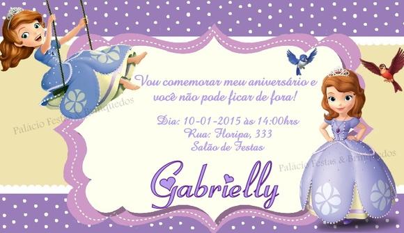 Convite Princesa Sofia - Aniversario sobrinha | Elo7