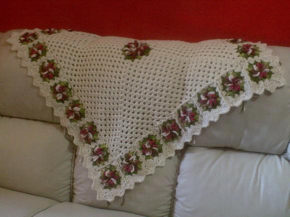 Forro para sofa de canto em croche elo7 - Manta de sofa ...
