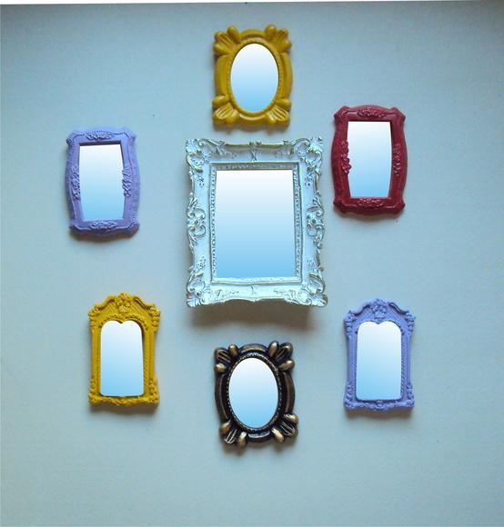 Espelhos conjunto decorativos 07 p s no elo7 cores e for Conjunto de espejos decorativos