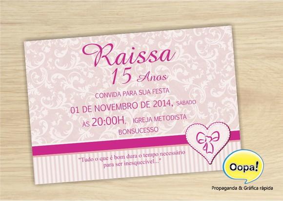 Quero Montar Meu Convite De 50 Anos: Convite 15 Anos Vintage Rosa No Elo7